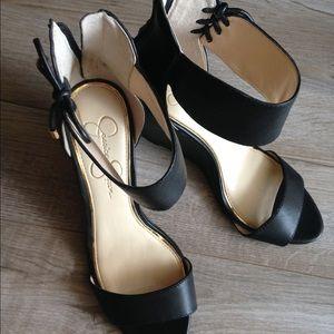 ... heels Genuine leather black Michael Kors booties Jessica Simpson black  leather wedges ... d316508bd9c